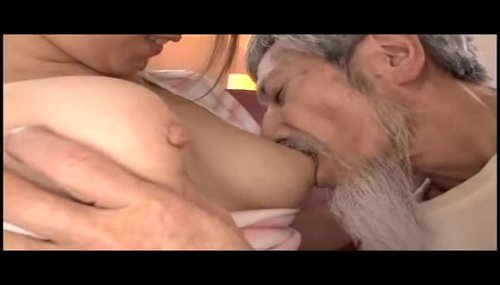 Men licking breast