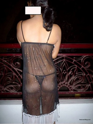 Sexy Indian office girl in transparent black lingerie