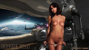 Felicity Jones uncensored nude on Rogue One: A Star Wars Story poster HQ
